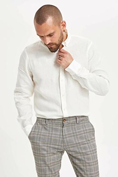 DeFacto Keten Gömlek Beyaz